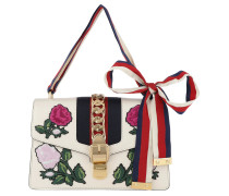 Sylvie Embroidered Small Shoulder Bag White/Multi