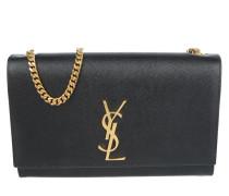 YSL Chain Clutch Grain De Poudre Black