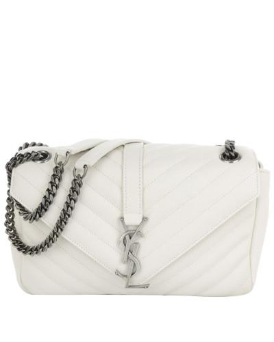 saint laurent damen saint laurent tasche monogramme medium chain shoulder bag white in wei. Black Bedroom Furniture Sets. Home Design Ideas