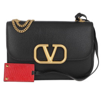 Umhängetasche Small V Lock Crossbody Leather Black