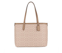 Shopper Coated Canvas Signature Central Tote Zip Sand Taupe
