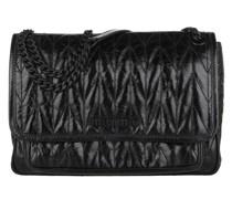 Umhängetasche Quilted Shoulder Bag Shiny Leather Black