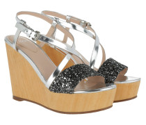 Kalithea Emilia High Wedge Sandal Silver Sandalen