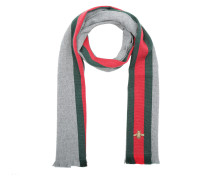 Wool Cashmere Scarf With Web Lead Dark Green Schal rot