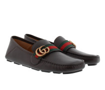 Velvety Calf Leather Loafers Cocoa/Verde/Rosso