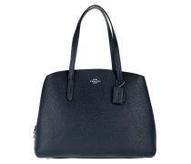 Tote Polished Pebble Leather Charlie 40 Handle Bag Blue Navy