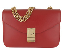 Umhängetasche C Bag Medium Calfskin Red