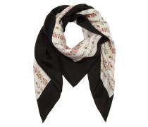 GG Logo Rose Print Silk Scarf White Schal weiß