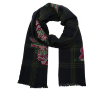 Wool Scarf All Roses Checked Green Schal grün