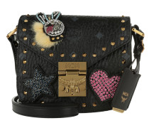 Patricia Embellished Visetos Shoulder Bag Black
