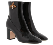Patent Ankle Boot With Bee Black Schuhe