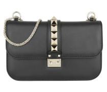 Rockstud Lock Shoulder Bag Medium Black Umhängetasche