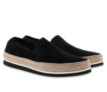 Slip-Ons With Straw Details Black Sneakers