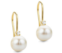 Ohrringe 0.07ct Diamond Freshwater Pearls Earring 14KT Yellow Gold