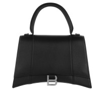 Satchel Bag Hourglass Medium Leather Black
