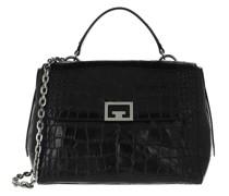 Umhängetasche Medium ID Shoulder Bag Croco Effect Leather Black