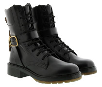 Boots Diane Harness Lace Up Combat Leather Black