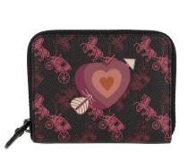 Portemonnaie Canvas Heart Small Zip Around Wallet Black