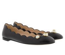 Pearl Embellished Leather Ballerina Nero