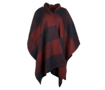 Schal - Hooded Wool Poncho Red/Blue