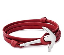 Armbänder Anchor on Leather Bracelet Polished Silver