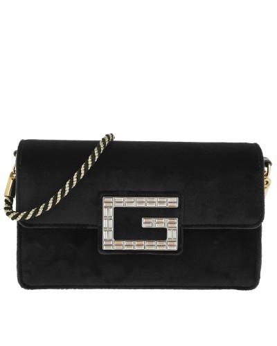 Umhängetasche Shoulder Bag with Square G Velvet Black schwarz