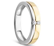 Ring 14KT Bi Colour Diamond Yellow Gold