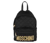 Quilted Logo Backpack Medium Black Rucksack