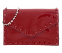 Clutch Small Rockstud Leather Red