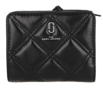 Portemonnaie Mini Compact Wallet Quilted Diamond Leather Black
