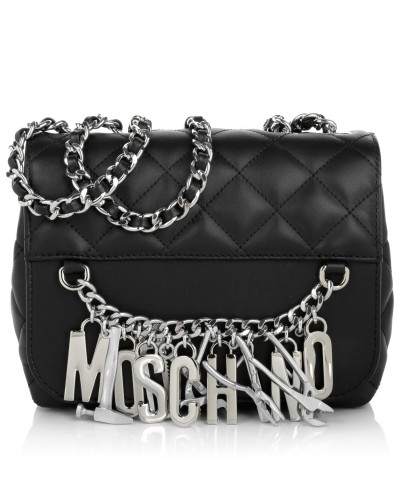 moschino damen moschino tasche quilted shoulder bag tools black in silber schwarz. Black Bedroom Furniture Sets. Home Design Ideas