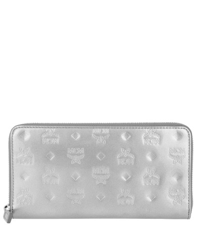 Patricia Patent Zipped Wallet Large Silver