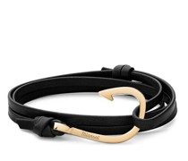 Armbänder Hook on Leather Bracelet Polished Gold