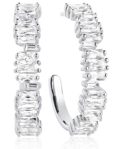 Ohrringe Antella Creolo Grande Earrings White Zirconia 925 Sterling Silver