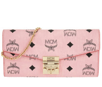 Patricia Visetos Two Fold Chain Wallet Large Soft Pink Clutch