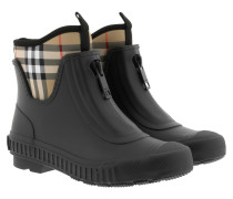 Boots Vintage Check Neoprene Rubber Rain Black