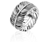 Ring Feather Pavé Silver/Black