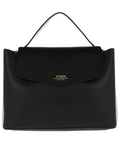 Ella Top Handle Flap Black Satchel Bag