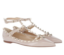 Rockstud Pointed Strappy Ballerinas Poudre rosa