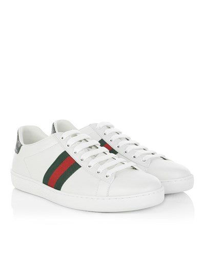 gucci damen gucci sneakers leather low top sneakers white in wei sneakers f r damen. Black Bedroom Furniture Sets. Home Design Ideas