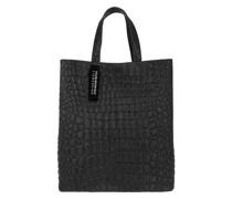 Tote Paperbag Medium Croco Black