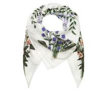 New Flora Print Silk Scarf Ecru Schal weiß