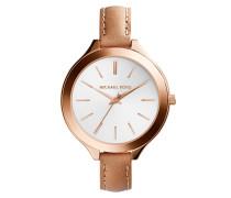 Armbanduhr - Slim Runway Leather And Rose-Tone Watch