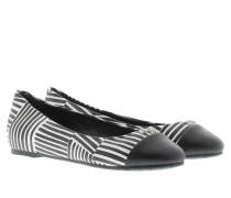 Ballerinas - Anthea Ballerina Print Calf Leather White