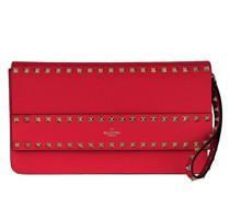 Pochette Rockstud Clutch Leather Rouge Pur