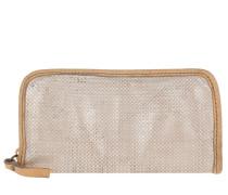 Perforated Wallet Grigio Perla Portemonnaie beige
