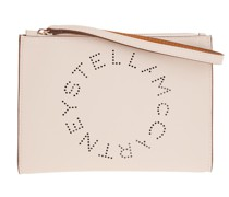 Pochette Zip Pouch With Perforated Logo Leather White