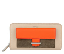 Zip Around Wallet Beige Portemonnaie orange