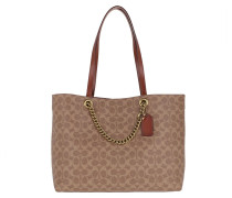 Shopper Canvas Chain Convertible Tote Tan Rust