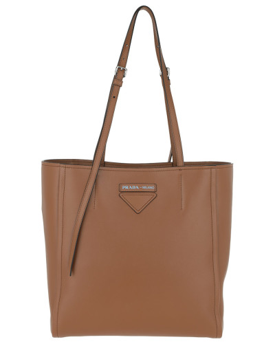 Tote Logo Tote Bag Rivets Leather Brown cognac